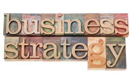 business strategy - isolated text  in vintage letterpress wood type Stock Photo - 16012802