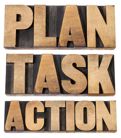 plan, task, action - a collage of isolated words in vintage letterpress wood type Stock Photo - 16012804