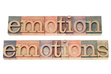 emotion and emotions  words - isolated text  in vintage letterpress wood type Stock Photo - 16126195