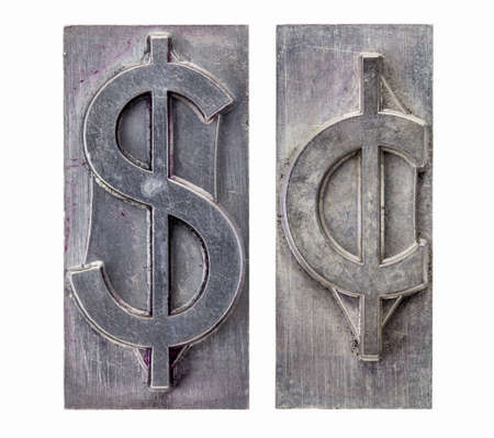 dollar and cent  -isolated symbols in vintage grunge metal letterpress printing blocks Stock Photo - 16126197
