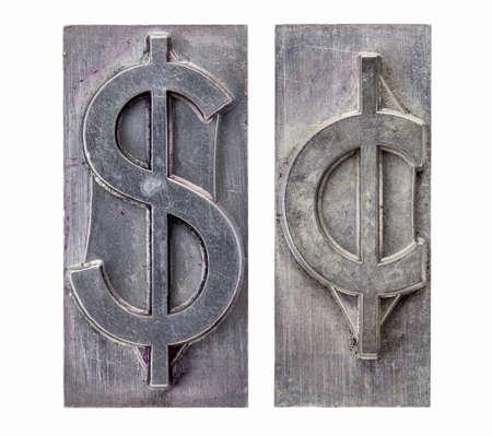 printing block: dollar and cent  -isolated symbols in vintage grunge metal letterpress printing blocks