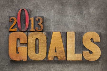 2013 goals - New Year resolution concept - text in vintage letterpress wood type blocks against grunge metal background Stock Photo - 16126208