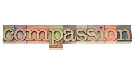 compassion - isolated word in vintage letterpress wood type stained by color inks Stock Photo - 16295292