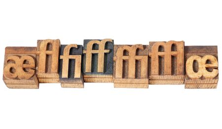row of ligature symbols in vintage letterpress wood type blocks Stock Photo - 16295308