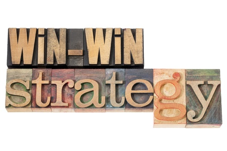 win-win strategy - negotiation or conflict resolution concept - isolated words in vintage wood type photo
