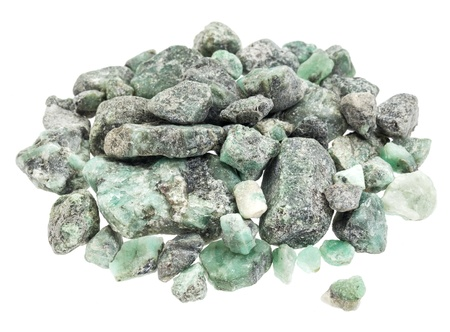 raw emerald gemstones  mineral beryl   with inclusions mined in Brazil, isolated on white Stock Photo - 16429842