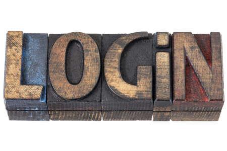 login - isolated word in vintage letterpress wood type blocks Reklamní fotografie