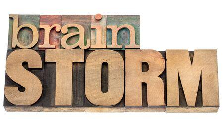 brainstorm - geïsoleerde woord in vintage boekdruk hout type blokken
