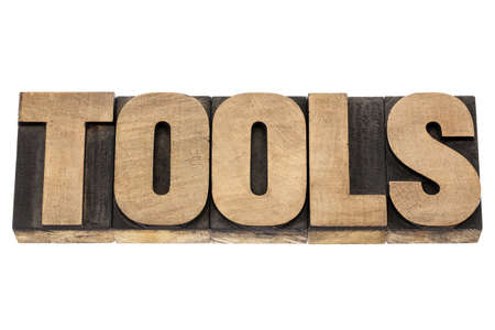 tools - isolated word in vintage letterpress wood type blocks Stock Photo - 16429850