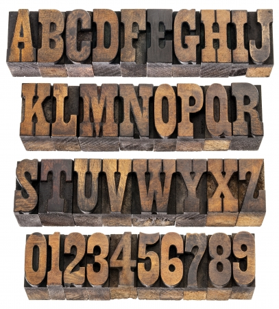 isolated rows of letters and numbers in vintage letterpress wood type blocks, French Clarendon font popular in western movies and memorabilia Stock Photo - 16429864