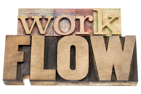 workflow - isolated word in vintage letterpress wood type blocks Stock Photo - 16429862