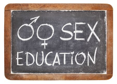 sex education: sex education title with gender symbols - white chalk on vintage slate blackboard isolated on white