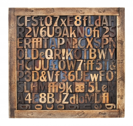 randomly: letters, numbers, punctuation symbols in vintage letterpress wood type blocks placed randomly in a wooden box