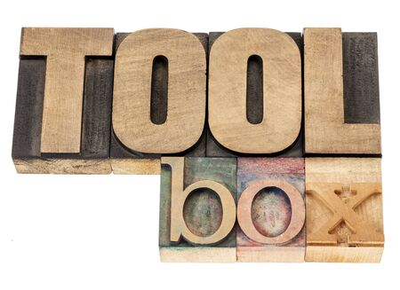 toolbox - isolated word in vintage letterpress wood type blocks Stock Photo - 16429875