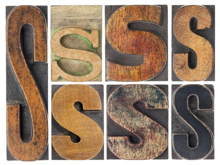 letter S - 7 isolated vintage letterpress wood type blocks with ink patina, variety of fonts Stock Photo - 16468602