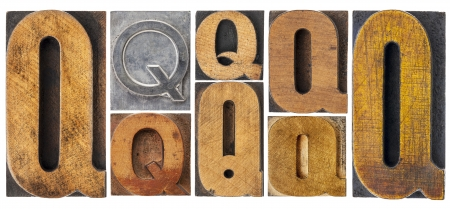 letter Q - 8 isolated vintage letterpress wood and metal type blocks with ink patina, variety of fonts Stock Photo - 16483893