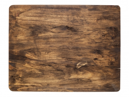 rustic cracked cutting board stained black, isolated on white Stock Photo - 16645599