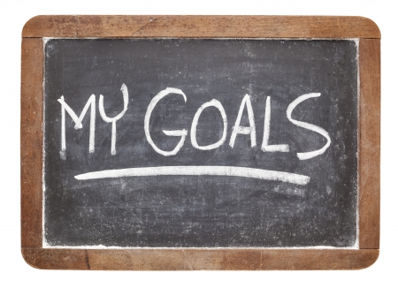 goal setting: my goals - white chalk handwriting on vintage slate blackboard Stock Photo