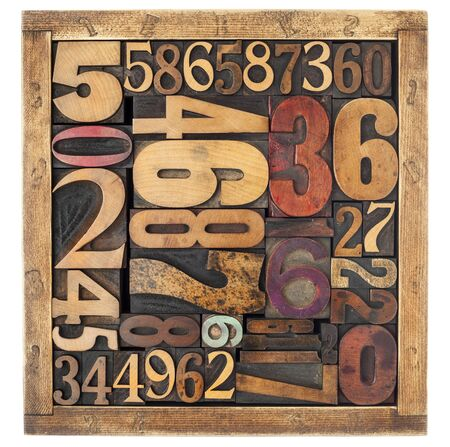 numbers abstract: number abstract - vintage letterpress wood type blocks in a box, different size and style