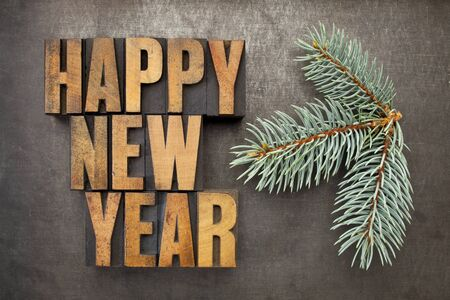 Happy New Year! - text in vintage letterpress wood type blocks on a grunge metal background with a branch of Colorado silver spruce photo