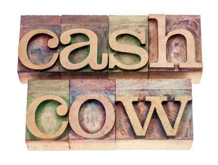 cash cow: cash cow - isolated text in vintage letterpress wood type blocks stained by color inks