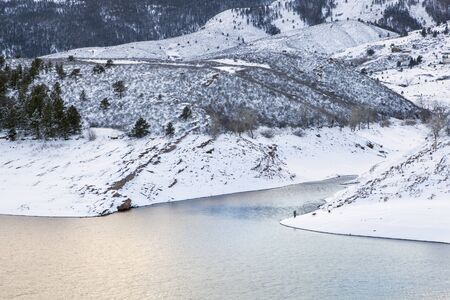 horsetooth reservoir: mountain lake at winter dusk - Horsetooth Reservoir near Fort Collins, Colorado, winter scenery