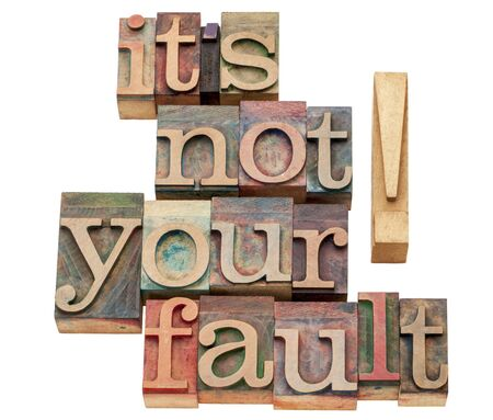 it is not your fault - isolated words in vintage letterpress wood type printing blocks Stock Photo - 17007968