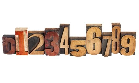 printing block: ten arabic numerals zero to nine in isolated vintage wood letterpress printing blocks, variety of fonts