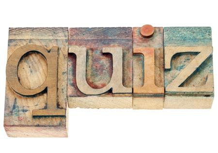 quiz - isolated word in vintage letterpress wood type printing blocks Stock Photo - 17007972