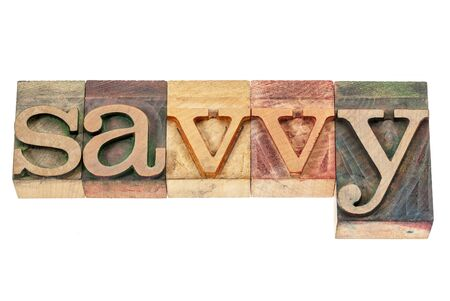 savvy: savvy - isolated word in vintage letterpress wood type printing blocks