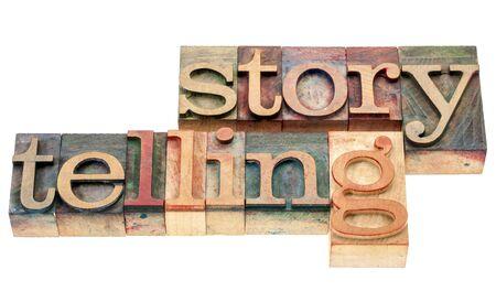 storytelling - isolated word in vintage letterpress wood type printing blocks Stock Photo - 17007965