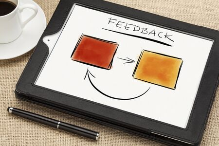 sketch of feedback diagram or flowchart on a tablet computer screen with a coffee cup and stylus pen Stock Photo - 17007969