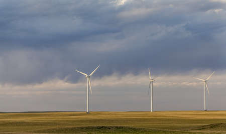 pawnee grassland: wind turbines  generating electricity in Pawnee Grassland in north eastern  Colorado