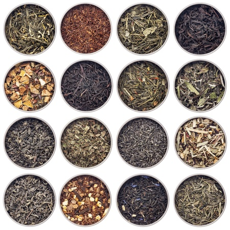 rooibos tea: 16 samples of loose leaf green, white, black, red, and herbal tea in metal cans isolated on white