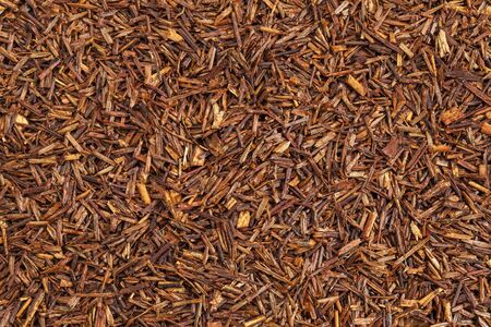 caffeine free: background texture of rooibos tea, made from the South African red bush, naturally caffeine free