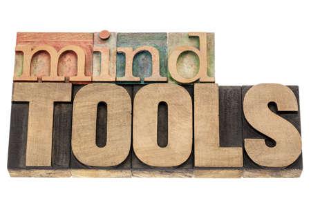 mind tools - isolated words in vintage letterpress wood type blocks