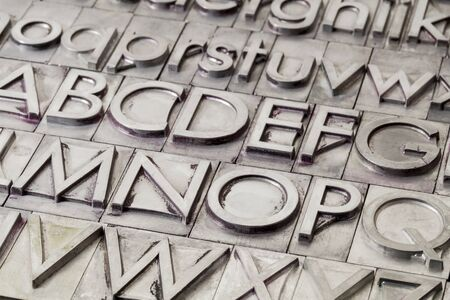 alphabet abstract - vintage metal letterpress printing blocks Stock Photo - 17113347