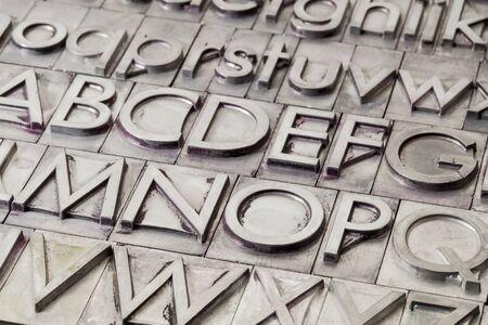 alphabet abstract - vintage metal letterpress printing blocks Stock Photo - 17113347