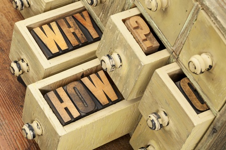 why and how questions -  vintage letterpress wood type blocks and primitive rustic wooden apothecary drawer cabinet Stock Photo - 17155646