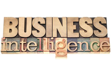 business intelligence - isolated text in vintage letterpress wood type printing blocks Stock Photo - 17305765