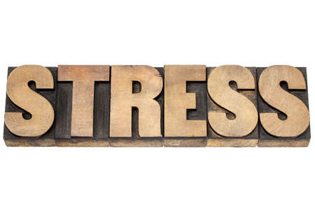 stress word - isolated text in vintage letterpress wood type printing blocks Stock Photo - 17305757