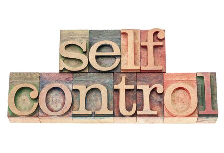 selfcontrol: selfcontrol word - isolated text in vintage letterpress wood type printing blocks Stock Photo