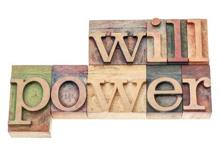 willpower: forza di volont� parola - testo isolato in blocchi d'epoca in legno di stampa tipografica tipo