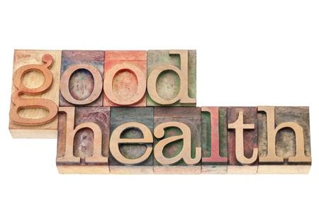 buena salud: buen estado de salud - concepto de bienestar - texto aislado en bloques de madera de impresión de tipo vintage tipografía