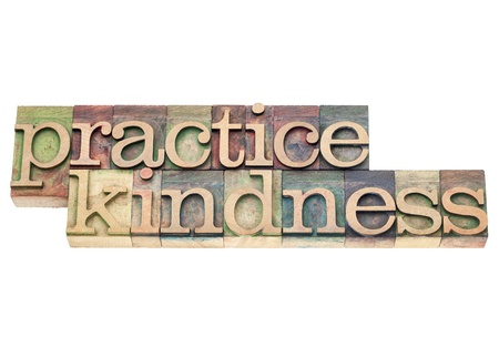kindness: practice kindness - isolated text in vintage letterpress wood type printing blocks