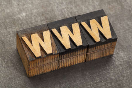 word wide web acronym - www in vintage letterpress wood type blocks on a grunge metal background Stock Photo - 17305845