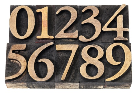 ten  numerals from 0 to 9 in vintage wood letterpress blocks stained by black ink, isolated on white Stock Photo - 17331766