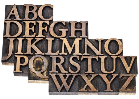 uppercase English alphabet in vintage letterpress wood type printing blocks, isolated on white photo