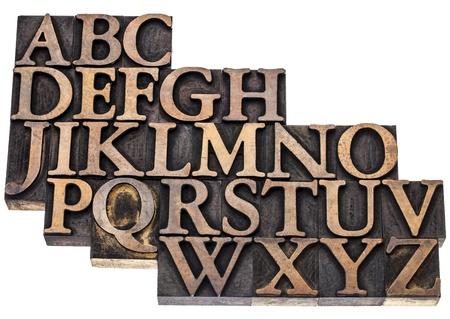 uppercase English alphabet in vintage letterpress wood type printing blocks, isolated on white Stock Photo - 17354907