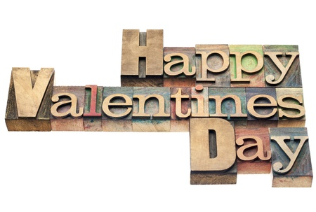 Happy Valentines Day - isolated text in vintage letterpress wood type printing blocks Stock Photo - 17447349